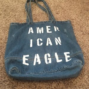 American eagle distressed denim tote carry all